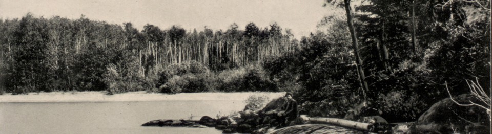 Image of Lake River. Image of water and trees in black and white