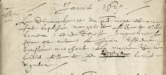 Certificate of Baptism, January 10, 1627